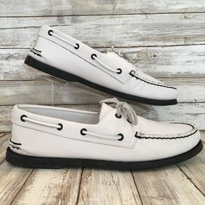 Sperry 11m White Leather Casual Dock Boat Shoes.
